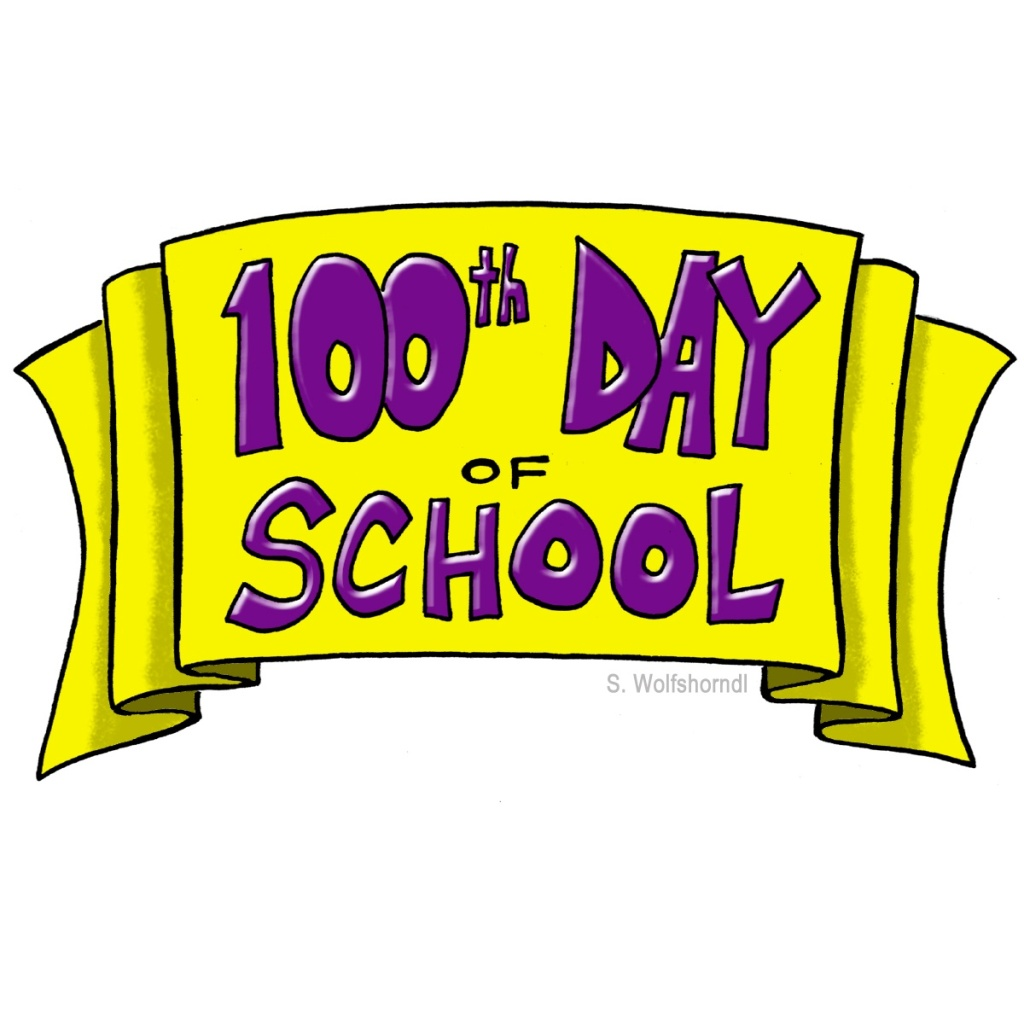 100th Day of School Illustration