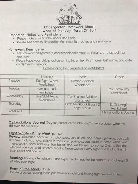 K HW week of 3-27-17