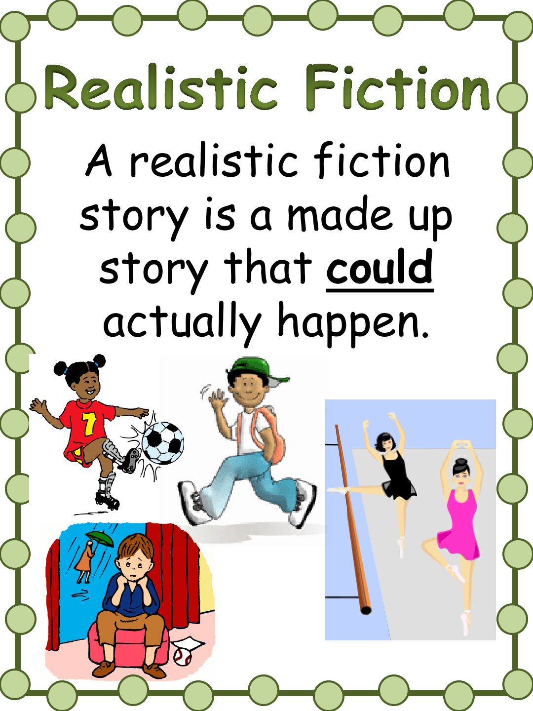 realistic fiction Realistic fiction (or realism) has a number of distinguishing characteristics first,  the setting must be one that is possible in today's world it does.