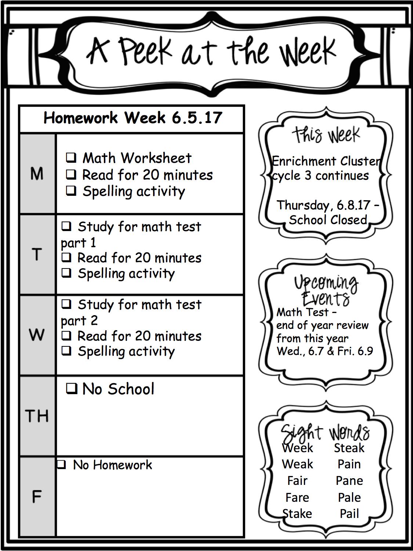 Weekly Homework 6.5.17